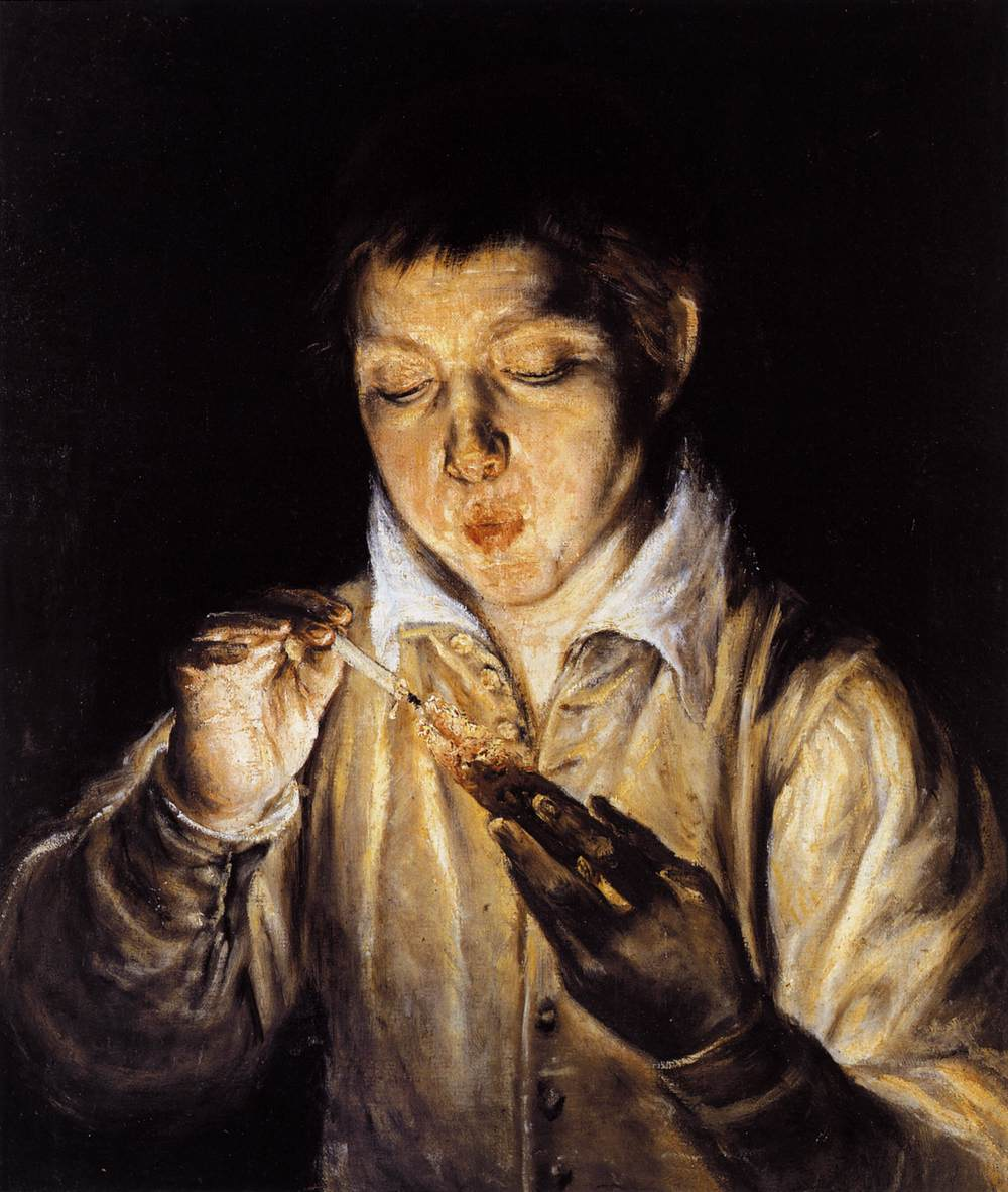 El Greco - Dominikos Theotokopulos - Page 2 A-boy-blowing-on-an-ember-to-light-a-candle