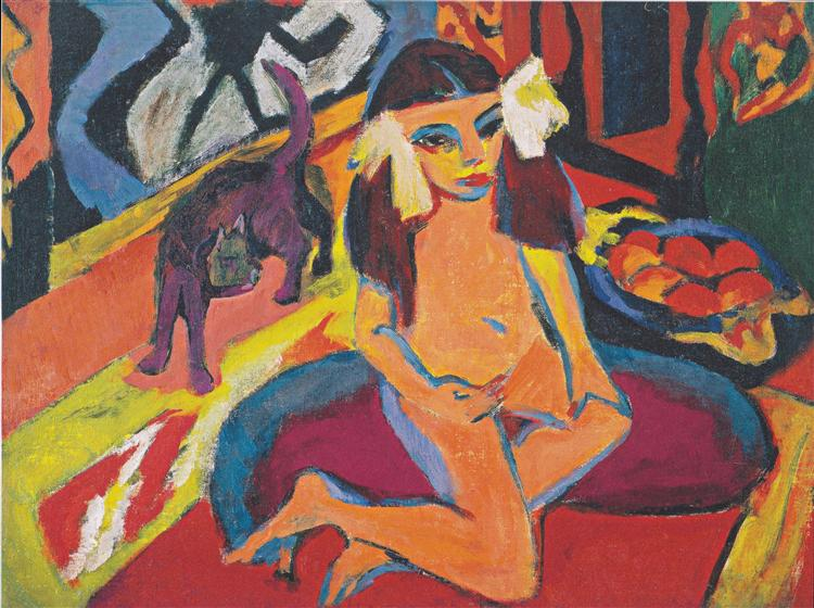 Girl with Cat (Franzi), 1910 - Ernst Ludwig Kirchner