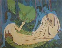 Three Naked in the Forest - Ernst Ludwig Kirchner