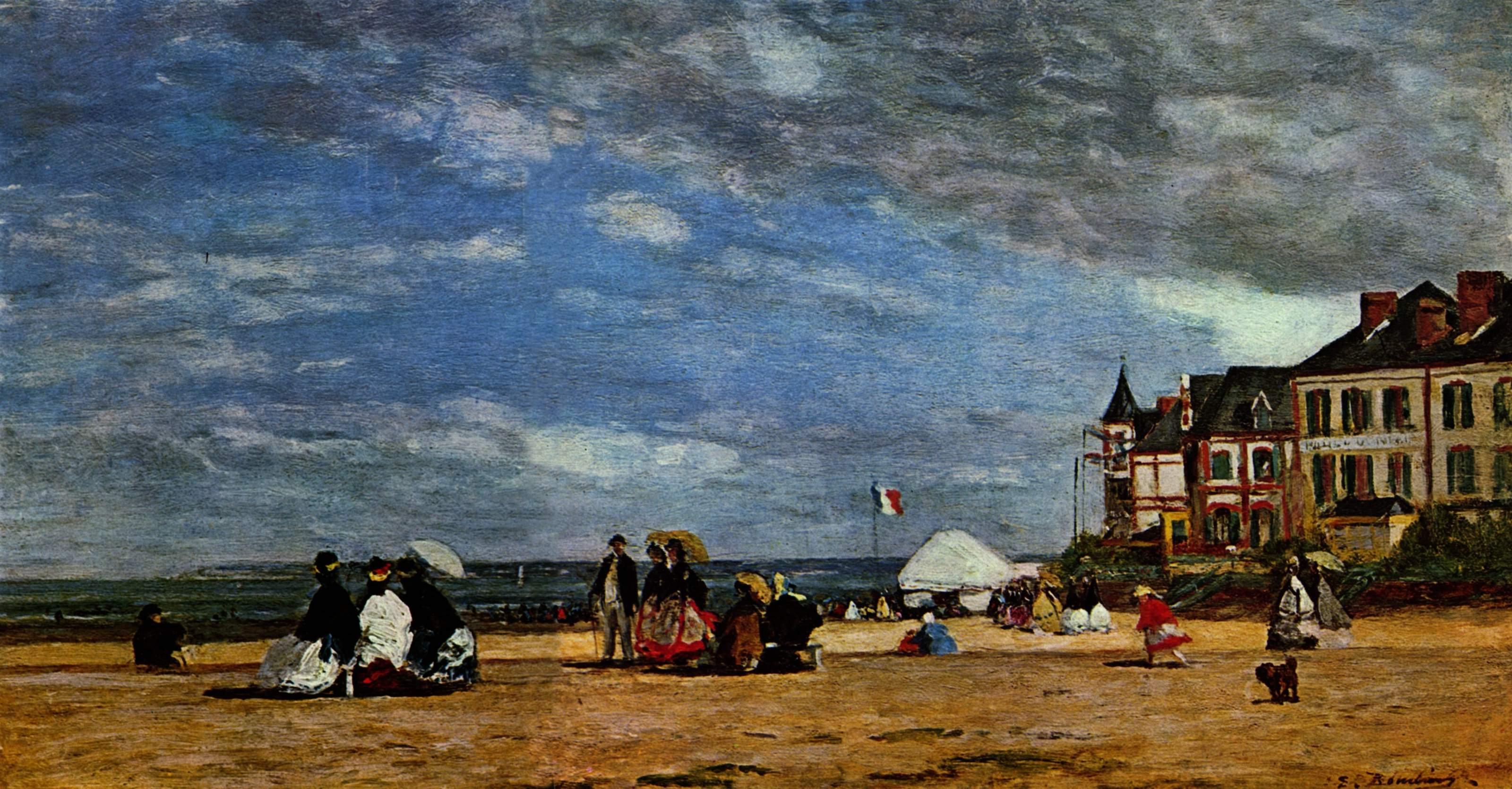 The Beach At Trouville 1864 Eugene Boudin Wikiart Org