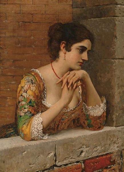 Venetian Beauty on Balcony, 1932 - Eugen de Blaas