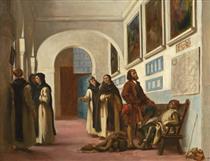Cristoforo Colombo e suo figlio a La Rábida - Eugene Delacroix