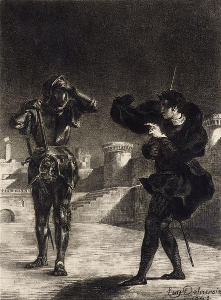 Hamlet Sees the Ghost of his Father, 1843 - Eugene Delacroix