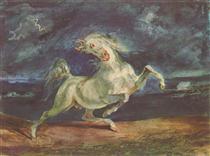Cavallo spaventato da una tempesta - Eugene Delacroix