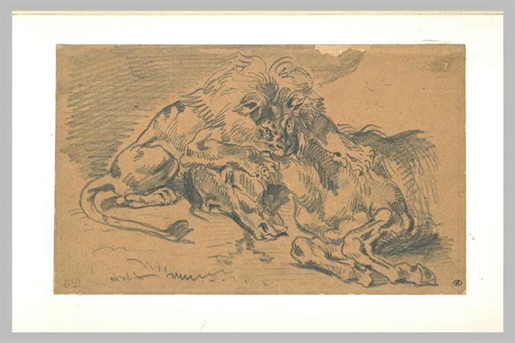 Лев, пожирающий лошадь - Эжен Делакруа