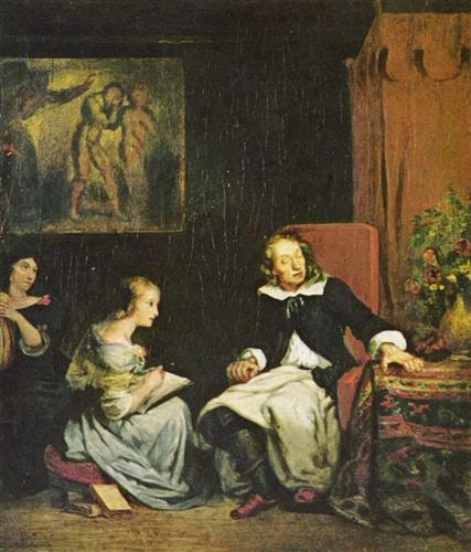 Milton dictated to his daughters the (Paradise Lost) - Eugene Delacroix