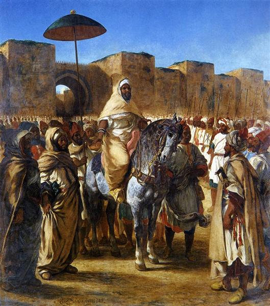 Muley Abd-ar-Rhaman, The Sultan of Morocco, leaving his Palace of Meknes with his entourage, 1845 - Eugene Delacroix