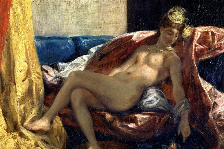 Reclining Odalisque or, Woman with a Parakeet, 1827 - Eugene Delacroix