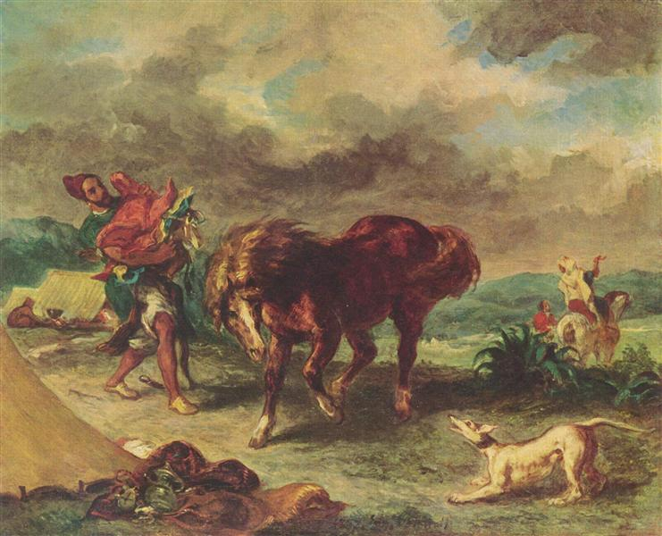 The Moroccan and his Horse, 1857 - Eugene Delacroix