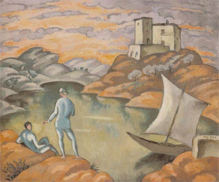 Landscape with Seafarers, 1914 - Евгений Зак