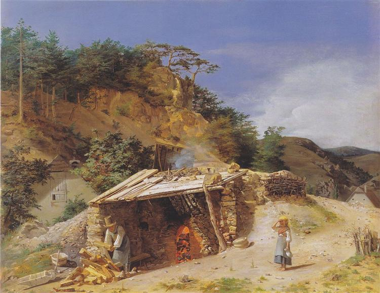 Lime kiln in the Hinterbrühl, 1845 - Фердинанд Георг Вальдмюллер