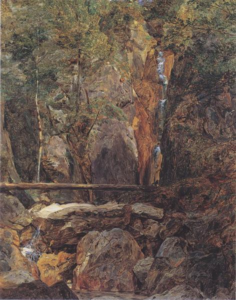 Rettenbach wilderness near Ischl (The Hohenzollern waterfall in Jainzental), 1832 - Фердинанд Георг Вальдмюллер