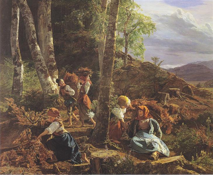 rushwood collectors in the Wienerwald, 1855 - Ferdinand Georg Waldmüller