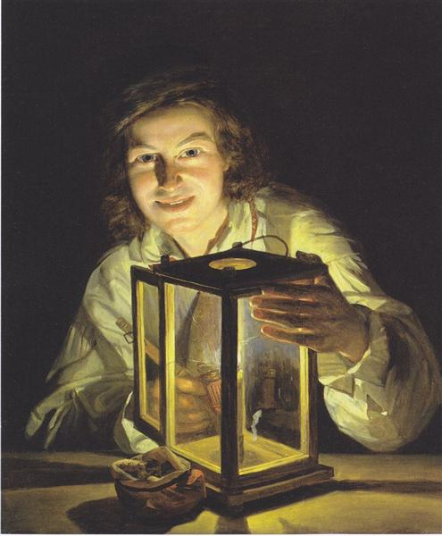 The young boy with the stable-lantern, 1824 - Ferdinand Georg Waldmüller