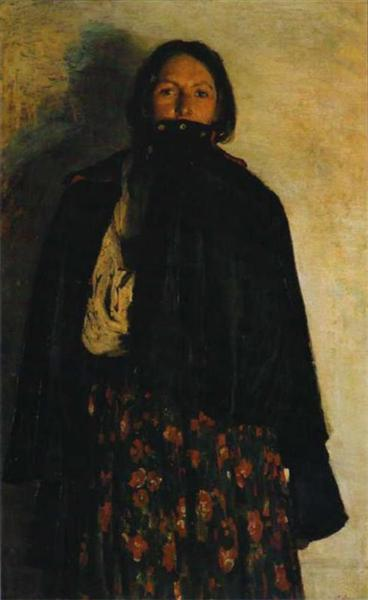 A peasant covering up her mouth by coat, 1894 - Filipp Malyavin