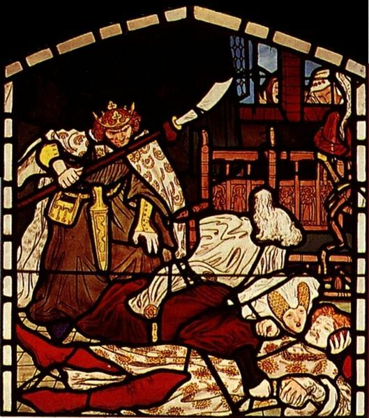 The Death of Sir Tristan, from 'The Story of Tristan and Isolde', William Morris & Co. - Ford Madox Brown