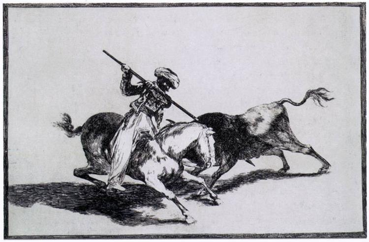 The Morisco Gazul is the First to Fight Bulls with a Lance, 1815 - 1816 - Francisco Goya