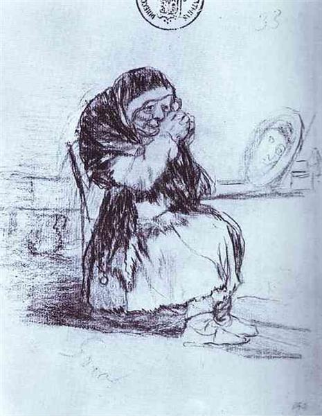 The Old Woman with a Mirror, 1828 - Francisco Goya