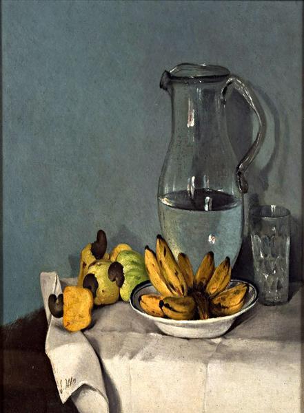 Still life with bananas, jar and cashews  1870 - Francisco Oller