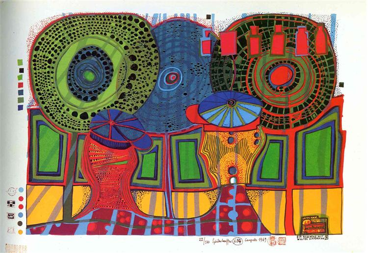 684  A Rainy Day with Walter Kampmann, 1969 - Friedensreich Hundertwasser
