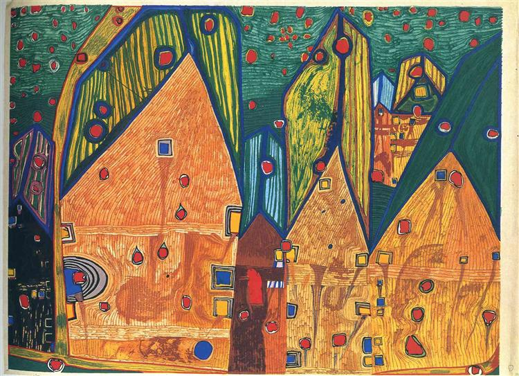 484A  Houses in Rain of Blood, 1961 - Friedensreich Hundertwasser