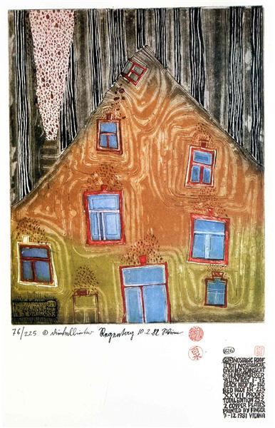 826 Nostalgic Roof, 1981 - Friedensreich Hundertwasser
