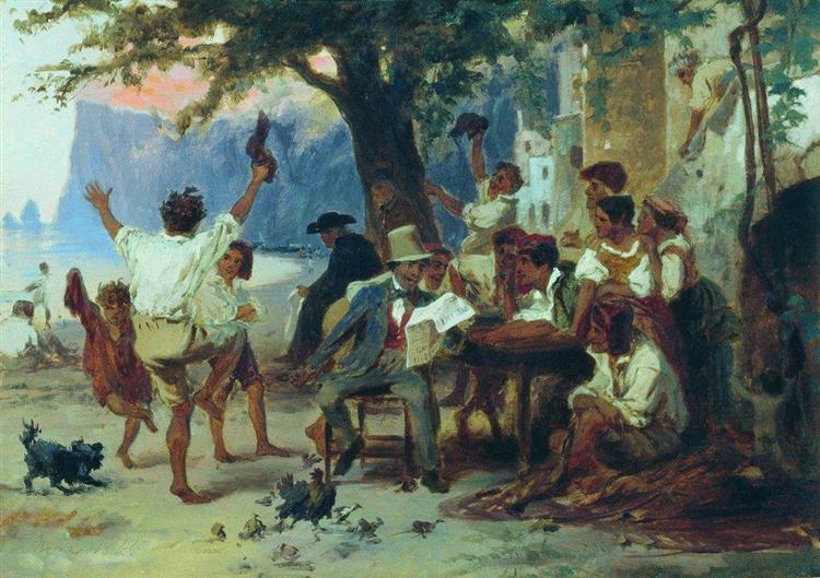 At a roadside tavern, 1868 - Fyodor Bronnikov