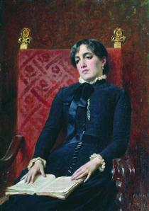 Portrait of a Lady with a book - Fyodor Bronnikov