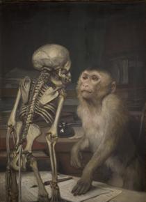Affe vor Skelett - Gabriel von Max