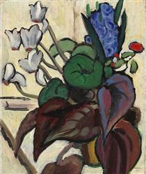 Blumen auf Weiß (Zyklamen und Hyazinthe) - Gabriele Munter
