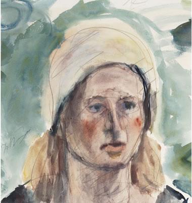 Portrait Of A Woman Wearing A Scarf