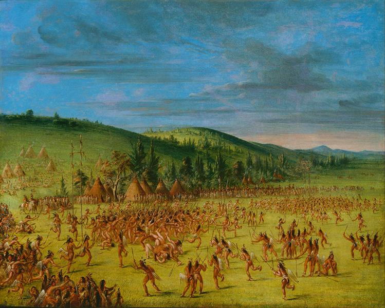 Ball-play of the Choctaw--Ball Up, 1850 - Джордж Кетлін