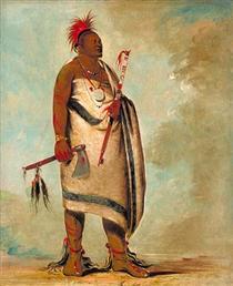 Shonka Sabe (Black Dog). Chief of the Hunkah division of the Osage tribe - Джордж Кетлін
