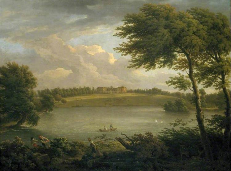 View of Copped Hall in Essex, from across the Lake, 1746 - George Lambert