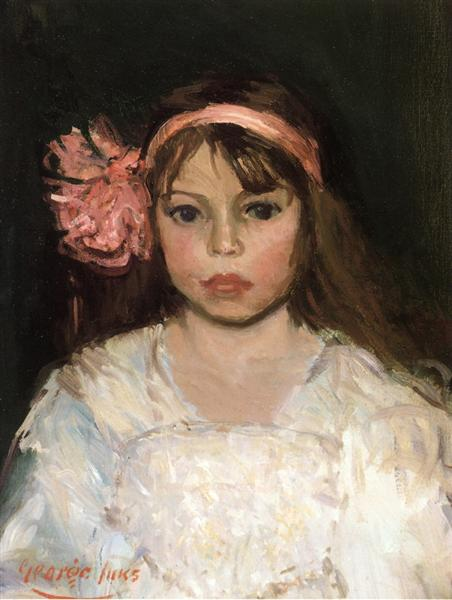 Girl with Pink Ribbon - George Luks