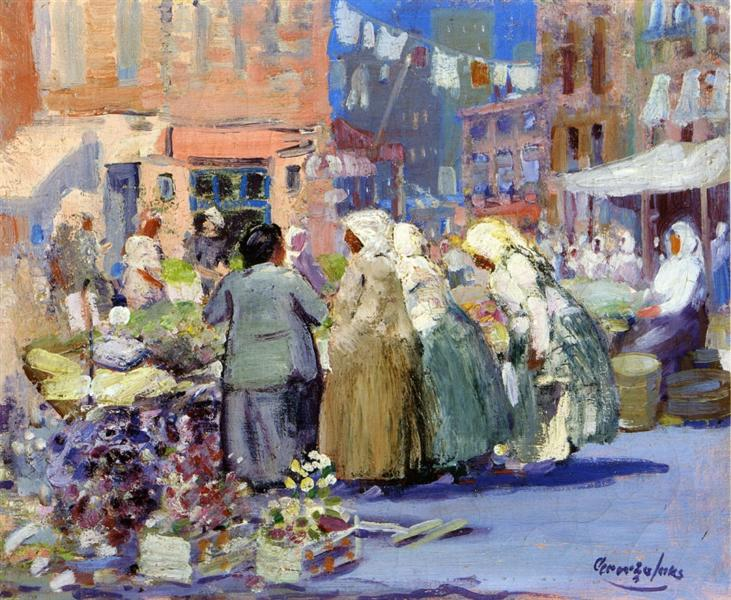 Spring Morning, Houston and Division Streets, New York, 1922 - George Luks