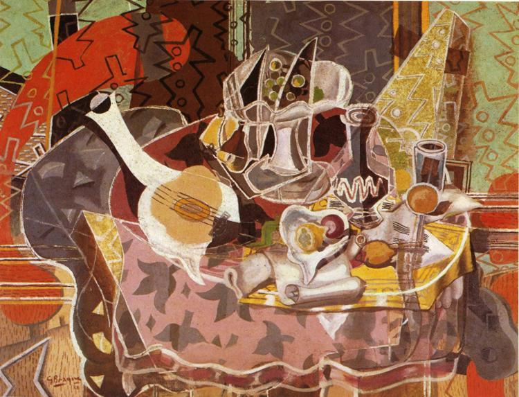 Zorz Brak ( Georges Braque ) - Page 3 Still-life-with-music-scroll