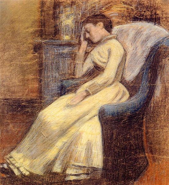 Julie Lemmen Sleeping in an Armchair - Georges Lemmen