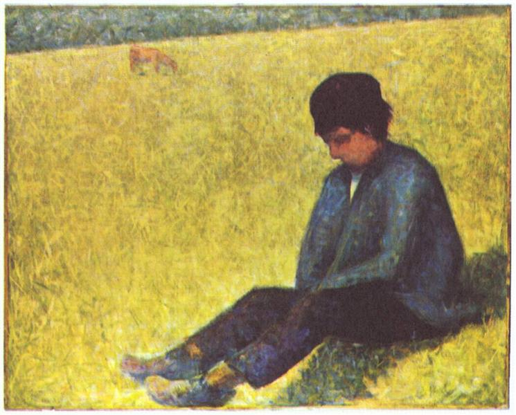 Peasant boy sitting in a meadow, 1882 - 1883 - Georges Seurat