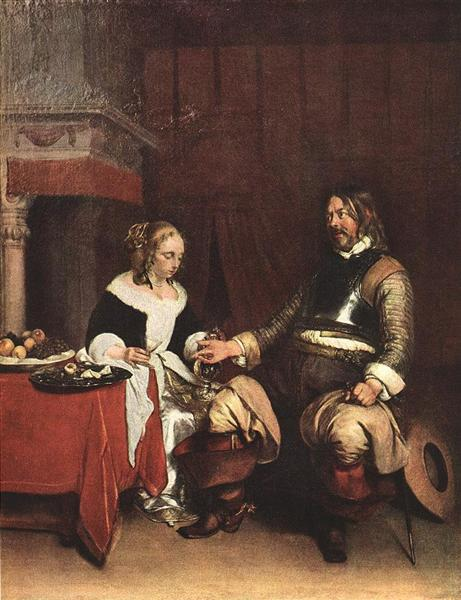 Man Offering a Woman Coins, c.1663 - Gerard Terborch