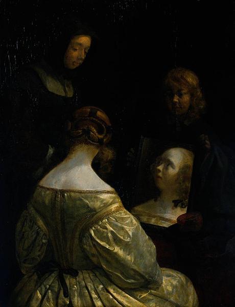 Woman at a Mirror, c.1650 - Gerard Terborch