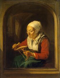 Old Woman Unreeling Threads - Gerard Dou