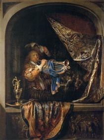 Trumpet Player in front of a Banquet - Gerard Dou