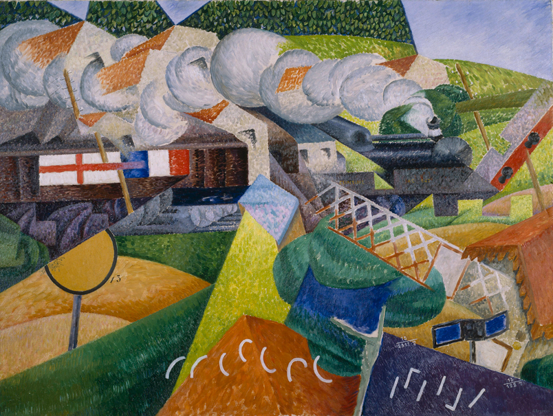 red cross train passing a village gino severini