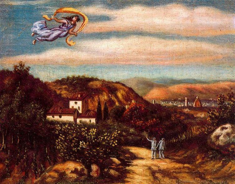 Landscape with divinity - Giorgio de Chirico