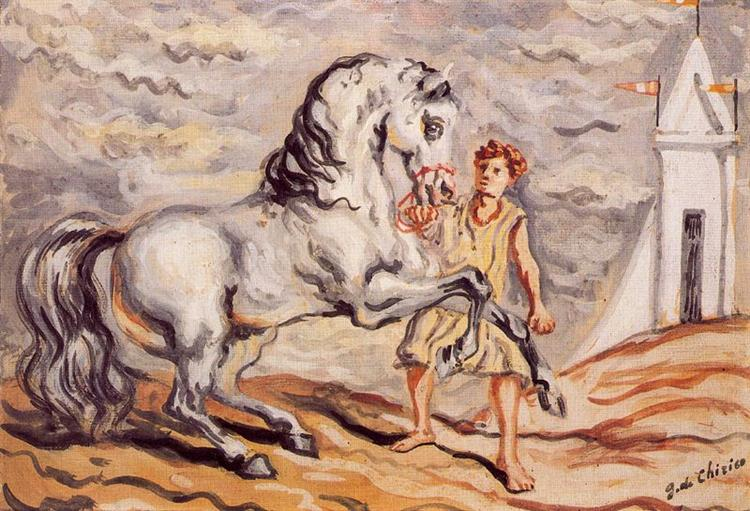 Runaway horse with stableboy and pavilion - Giorgio de Chirico
