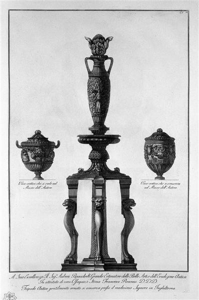 A tripod and two vessels, c.1778 - Giovanni Battista Piranesi
