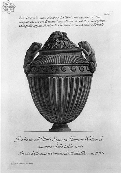 Ancient marble urn vase with dogs and an owl flying buttresses, ribbed, c.1770 - c.1778 - Giovanni Battista Piranesi