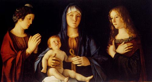 Virgin and Child with St. Catherine and Mary Magdalene - Giovanni Bellini