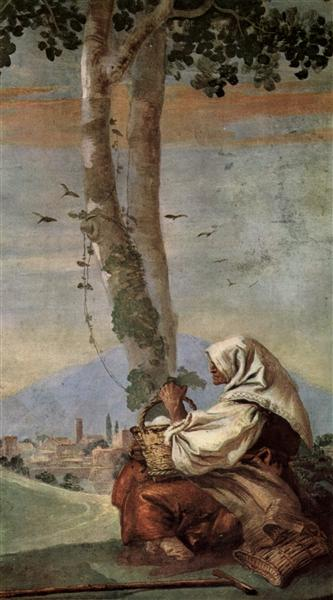Landscape with sitting farmer, 1757 - Giovanni Domenico Tiepolo